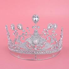 OEM Hair Accessories For Pageant Charming Rhinestone queen Designed Pin Wedding Bridal Tiara Crown
