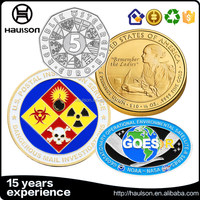Commerative odd shape brass material pure silver plating soft enamel custom souvenir metal embossed challenge coin