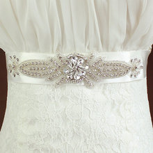 Wholesale Silver Bridal Applique Beaded Crystal Rhinestone Trim for Wedding Dress Sash Belt F421