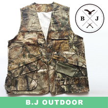 Hot sell outside hunting hiking cotton camo vest bird caller vest from BJ Outdoor