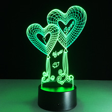 Decorative Table desk 3d acrylic led night light with USB Charger and battery