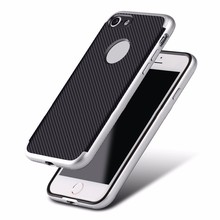 Cell phone accesories Electroplating 3 in 1 carbon fiber TPU case for iphone 7