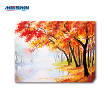 Wall Decoration Autumn Beautiful Scenery Maple Leaves Trees Oil Painting LED Canvas Painting