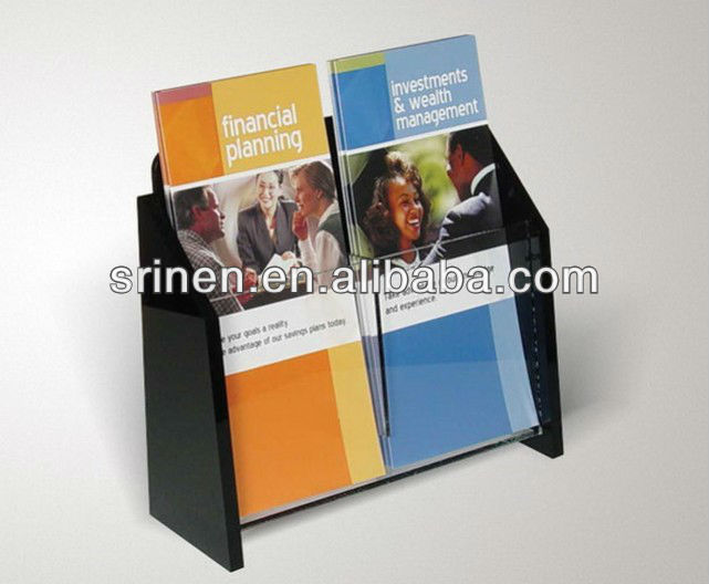 Acrylic Material Two Pocket A4 Poster Display Stand