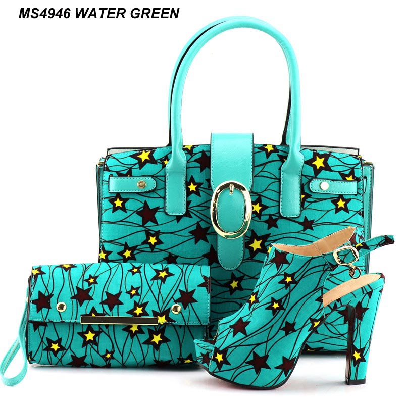 Water green ankara shoes matching 13cm high <strong>heels</strong> with bag sets for lady