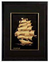 Vintage nautical ship 999.9% pure gold foil picture in wood frame best for gift and decoration