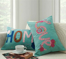 Hot lovely kids bedding decorative English alphabet embroidery letters love home applique cushion