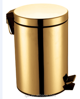 Sanitary wares 304 stainless steel round design luxury gold foot pedal dust/waste bin
