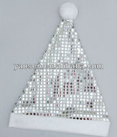 silver sequin santa hat with white pom pom for Children