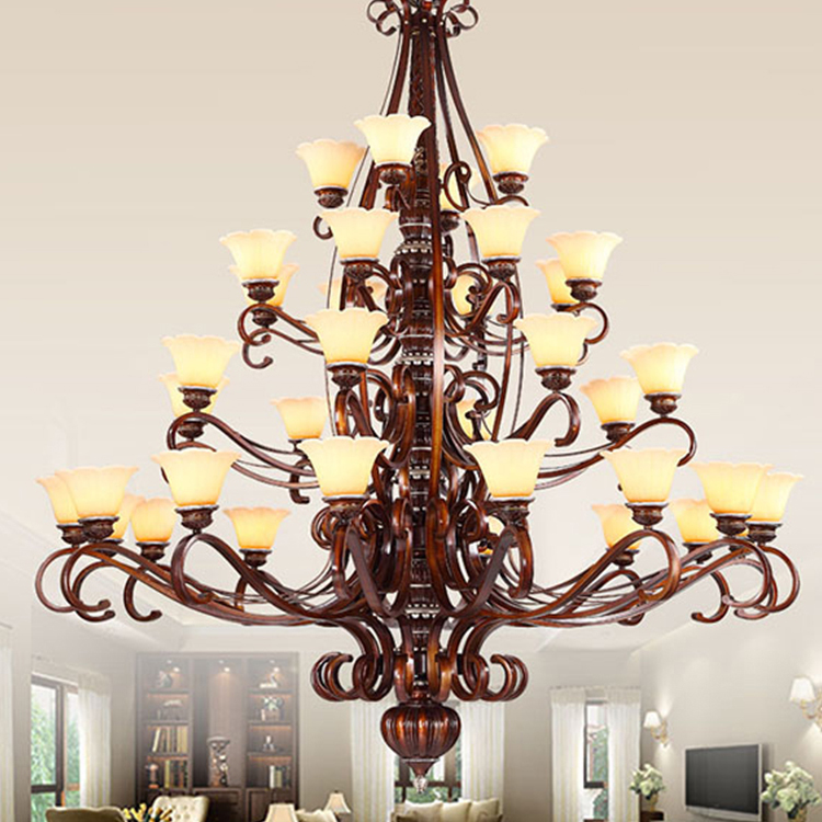 Classic Glass Chandelier Large Hotel Project Pendant Light High Hanging Chandeliers For Ceiling Wrought Iron