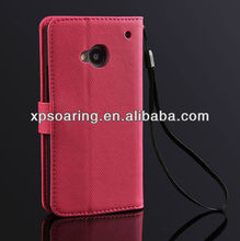 Cross-line leather case pouch bag for HTC one M7 wallet case