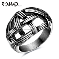Punk style Finger Woven Rings 316L Steel Color Jewelry Stainless Steel men ring