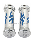 High quality CNC custom blue flame chrome motorcycle handlebar grips