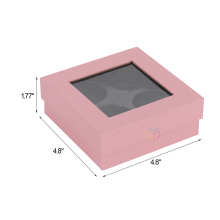 pink gift matt lamination paper window luxury truffle box