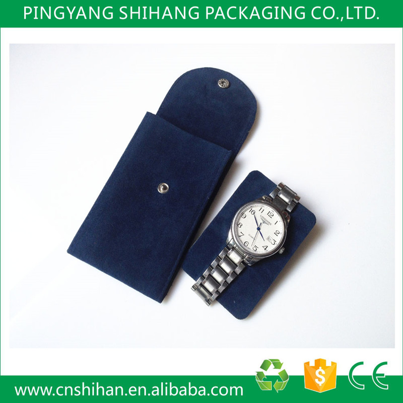 Hot sale individual design watch velvet pouch with hot stamping logo