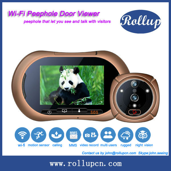 new wifi based motion video recording peephole door viewer monitor