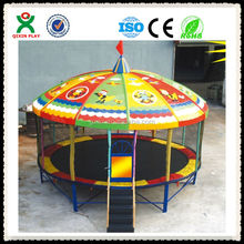Colored roof preschool trampoline/garden trampoline/trampoline with tent QX-117C