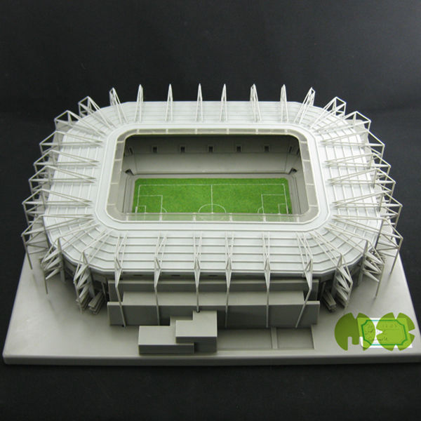 3D models of football stadiums World Cup 2014 Brazil Fans Building Borussia Park Arena with plastic football field and pitch