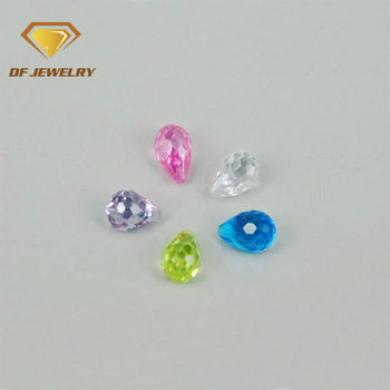 Lab Created Colorful Handmade Cubic Zirconia Bullet Faceted Gemstone Bead