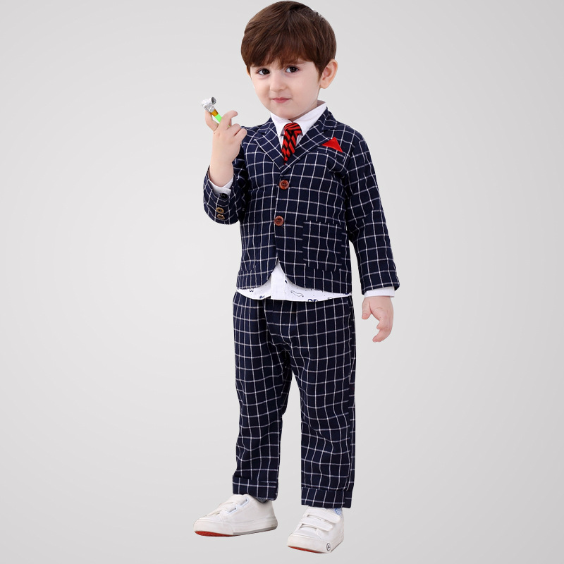 S31265W Children clothing 2016 autumn grids long pant business suits