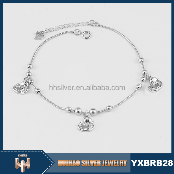 HUIHAO wholesale fashion charming jewelry women 2017 new 925 anklets silver designs