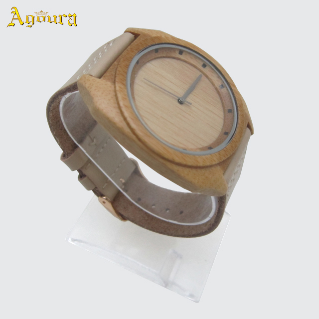 2019 Natural wooden smart watch women with leather strap, bamboo watch custom logo