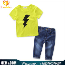 Kids clothing wholesale yellow t shirts denim pants 2pcs baby boys suits clothing sets