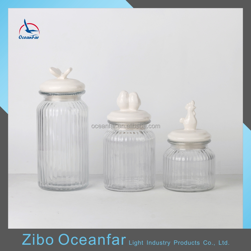 Best Selling Clear Vintage Glass Cookie Jar Decorative Glass Jar With Ceramic Lid