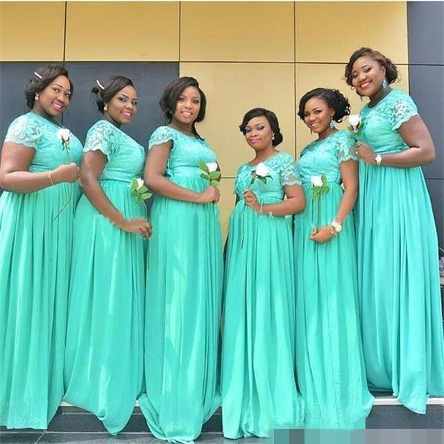 BL096 South African Mint Green Long Bridesmaid Dresses Dubai Sheer Crew Neck Short Sleeves Cheap Plus Size Maid of Honor Dresses
