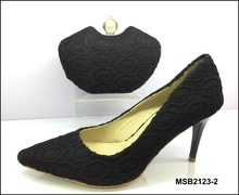 MSB2123-2 Fantastic design black ladies party lace shoes with bag to match on sale