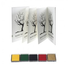 8 Sheets Wedding Fingerprint Tree Guest Book Signature Thumbprint 5 PCS Ink Pad