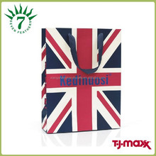 Union Jack shopping bag ,speical paper shopping bag with British logo ,UK deisgn paper carry bag