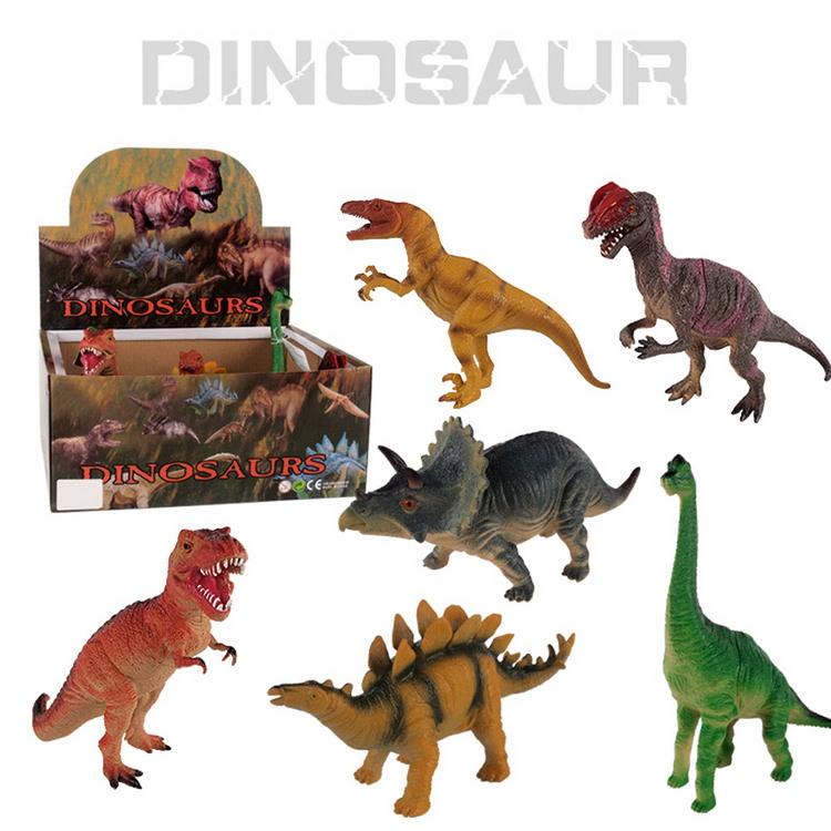6 model 7-9 inch dinosaur world toys set with BB whistle