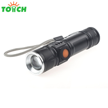 mini usb rechargeable led torch lantern lithium built in battery powered zoomable 800 lumen led flash lights for emergency