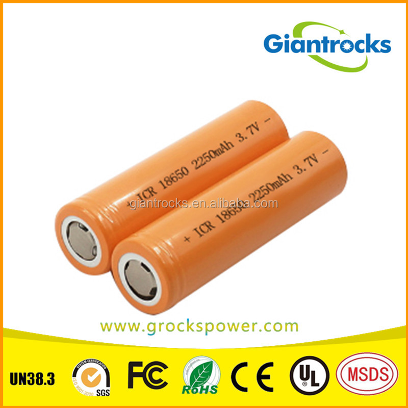 shenzhen 18650 lipo battery ICR18650 Battery 2250mah 3.7v with low price