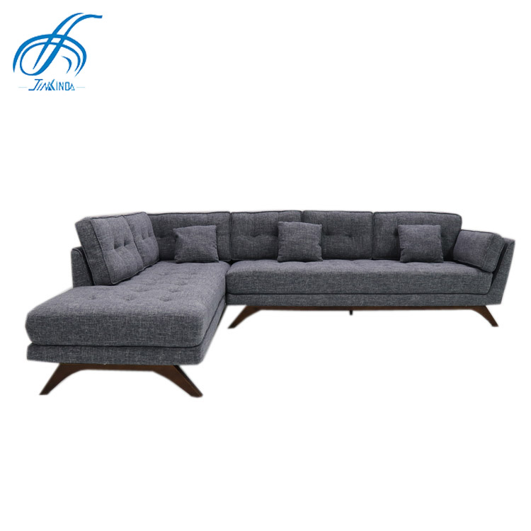 import furniture from china luxury lounge furniture corner sofa 3 setter grey fabric L shaped sofa