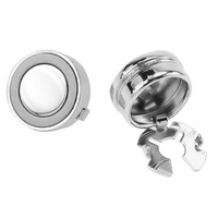 Mens Metal Silver and Matt Rhodium Round Button Covers For Shirt