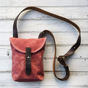 Waxed canvas bag canvas tote bag leather handle tote bag