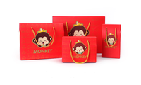 Series Foldable Red Gift Bag With cotton String lucky monkey pattern custom printed paper box wholesale hot quality good price