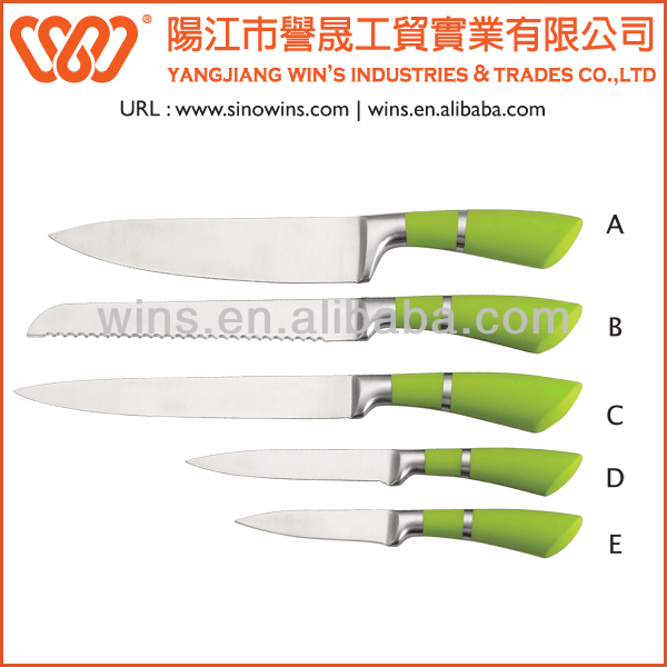 Rubber Sprayed Handle Kitchen Decorations Chef Knife Set