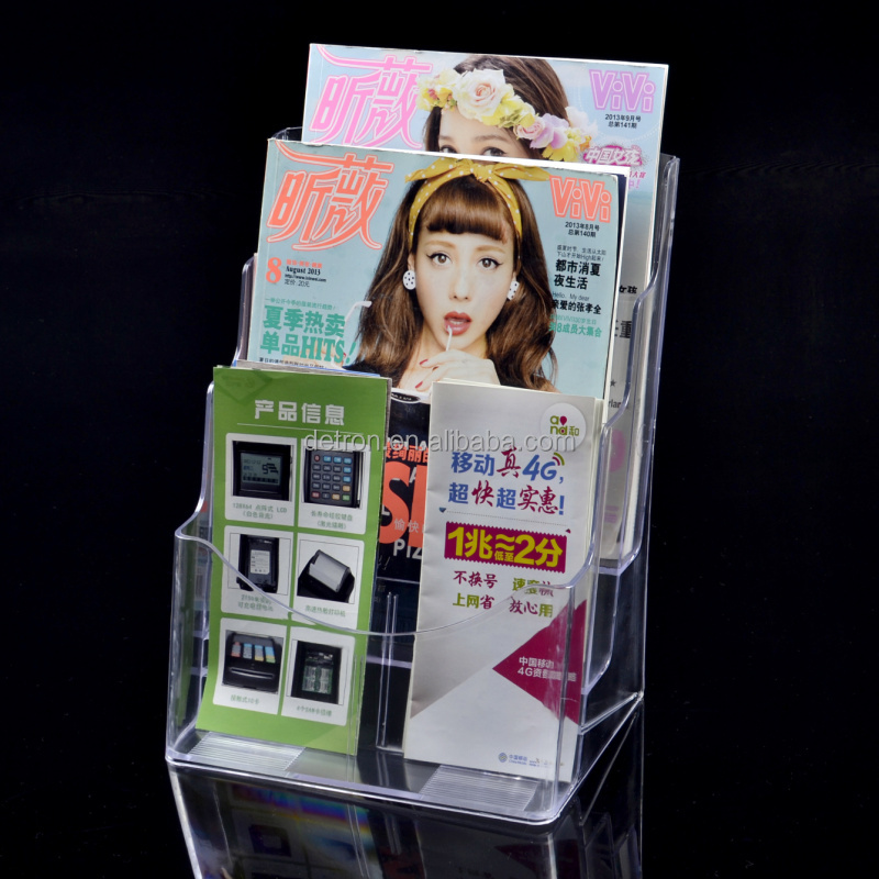Wholesale 6 pockets clear acrylic brochure stand magazine display rack