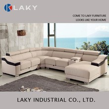 LK-LS1501 modern sectional leather sofa designs with two cups holder