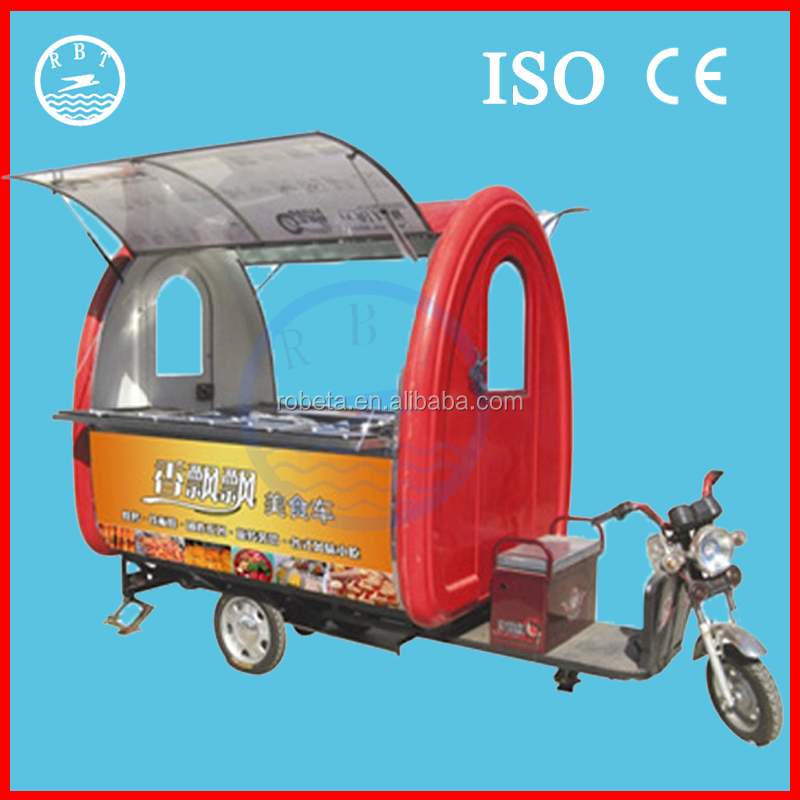 Electric tricycle vending mobile food cart with 3 wheels