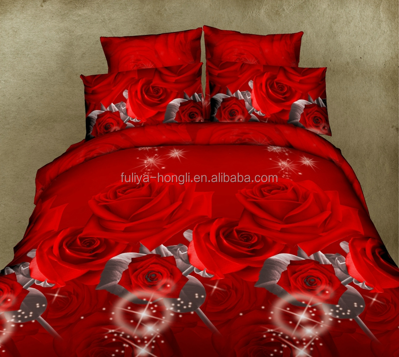 2016 red rose 3D printed microfiber fabric woven bed sheet sets/bedding sets
