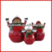 2013 sweet family hot-selliing ceramic snowman christmas craft