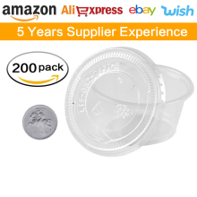 amazon ebay aliexpress Containers 2oz sets of 200,sauce cup,Plastic Cups with Plastic Lids Portion Cups