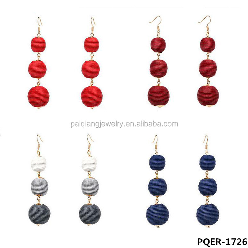 2017 Dainty bon bon style trendy thread wrapped three ball drop earrings
