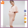 OEM light pink plus size maternity cape double layer pregnant bodycon dress