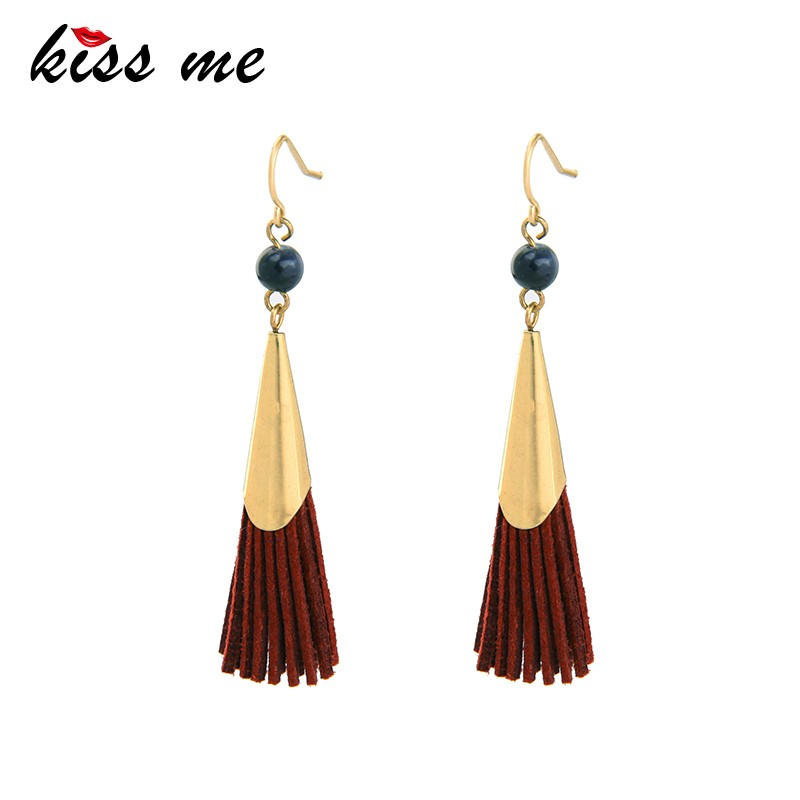 Vintage Tassel Drop Earrings Faux Suede Fabric Long Dangle Earrings for Women