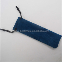 Long type Blue color necklace drawstring velvet bag